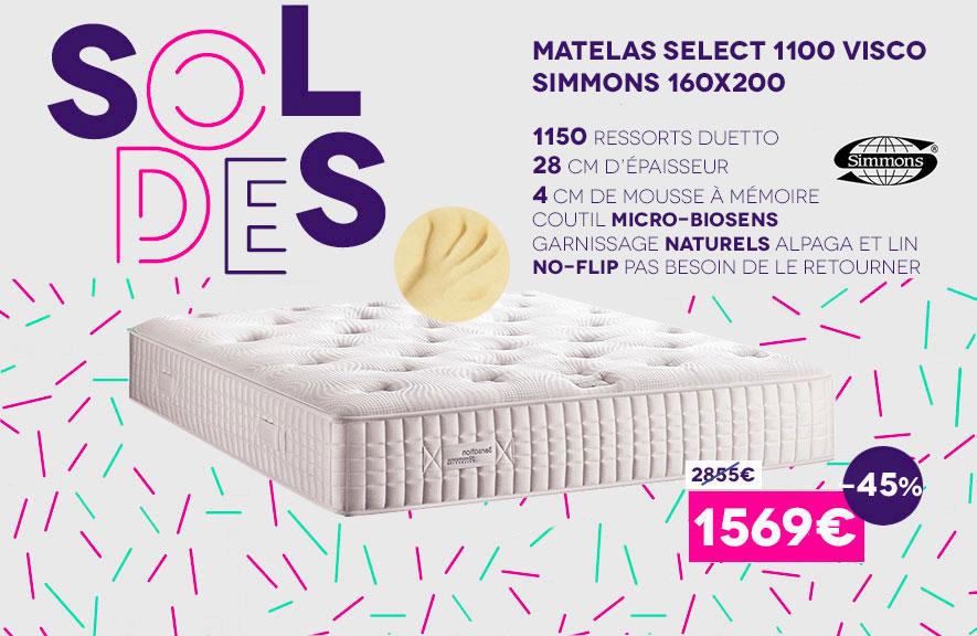 Soldes Matelas Select 1100 Visco Simmons Juillet 2016