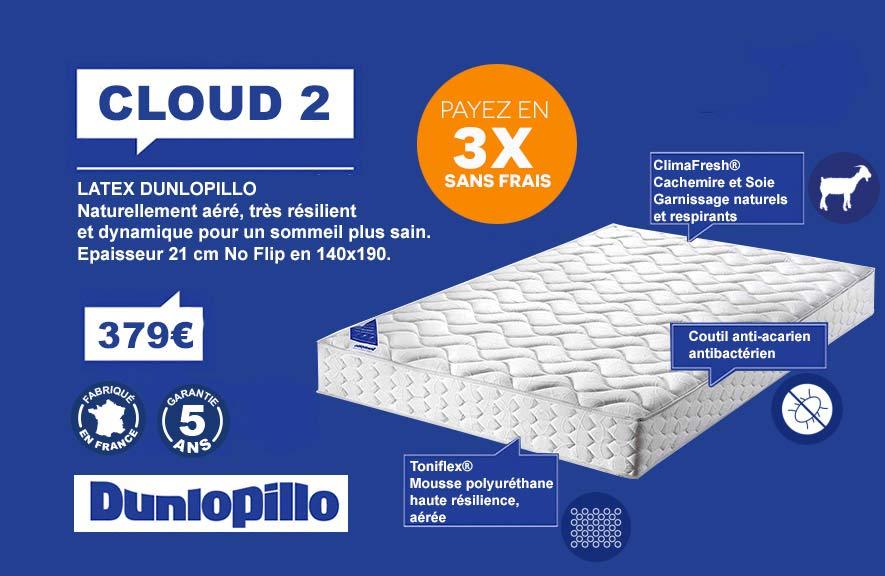 Matelas Cloud 2 Dunlopillo 3 fois sans frais