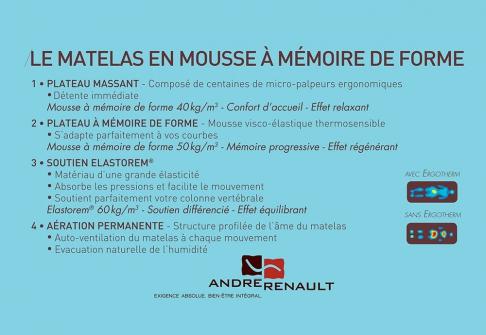 Matelas Mémoire de Forme André Renault AMARYLLIS  160x200 (Queen size)