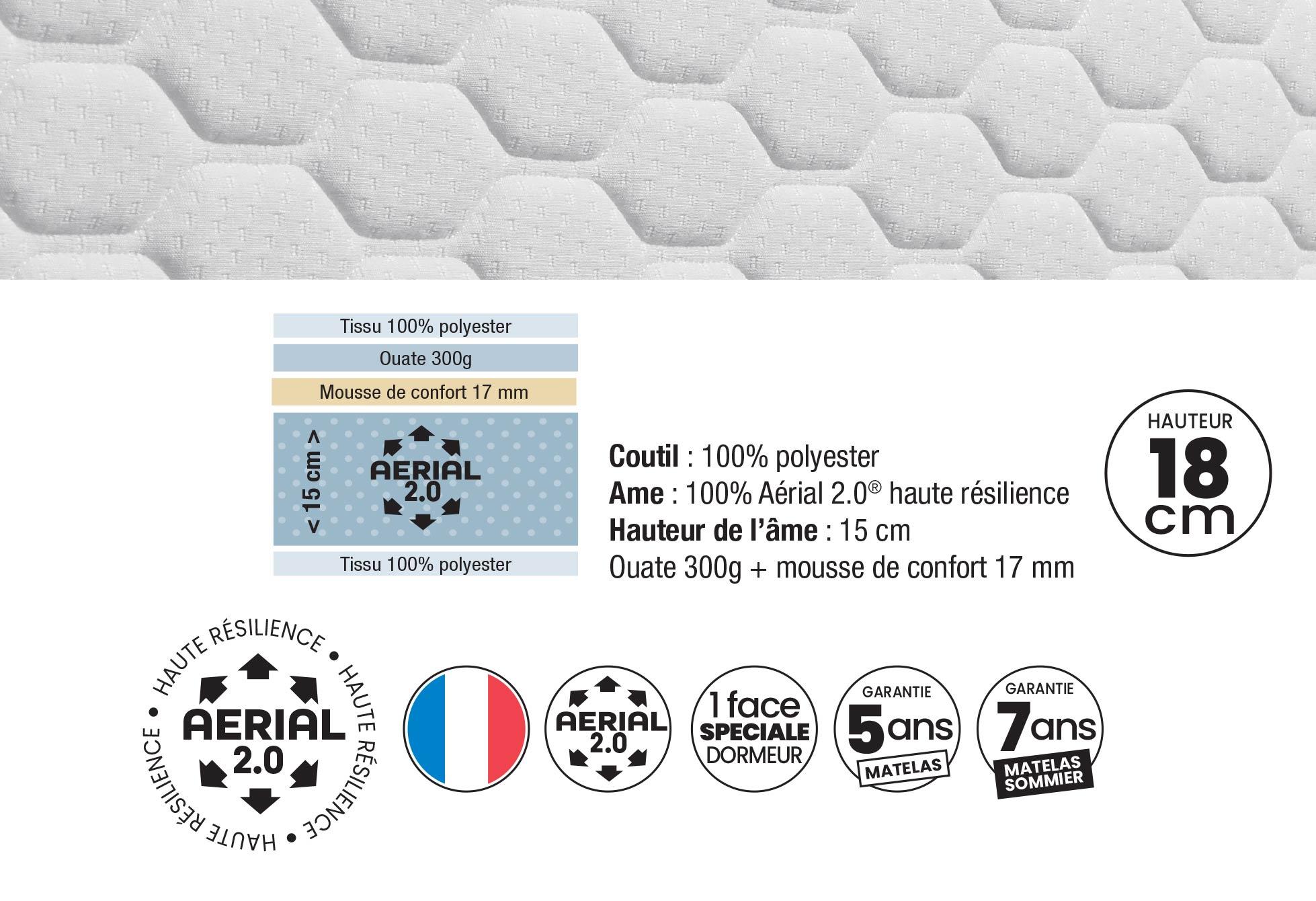 Matelas Mousse Dunlopillo POMME D'AMOUR GEN1  140x190 (2 pers)